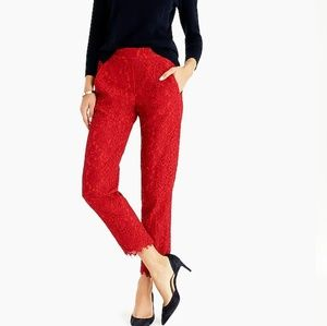 J Crew Easy Pant in Red Floral Lace
